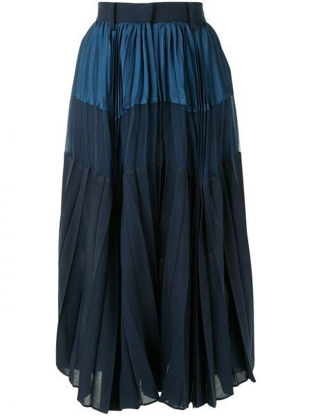 Шерстяная юбка миди - синяя Sacai