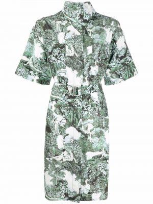 Шелковое платье миди - белое Kenzo