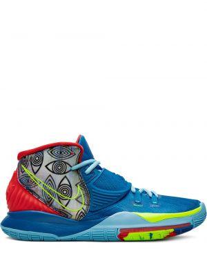 Ażurowe niebieskie wysoki sneakersy z nylonu Nike