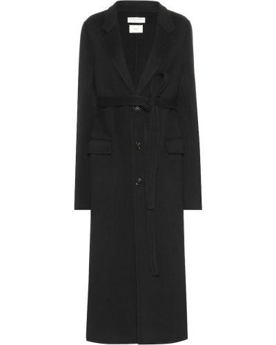 Klasyczny czarny płaszcz wełniany Bottega Veneta