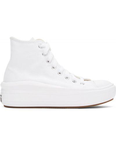 Парусиновые черные высокие кроссовки сетчатые на каблуке Converse