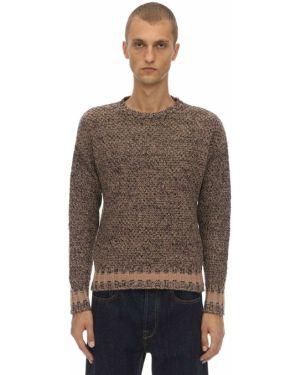 Prążkowany beżowy sweter wełniany Mp Massimo Piombo
