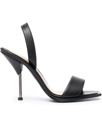 Czarne sandały skorzane peep toe Alexander Mcqueen
