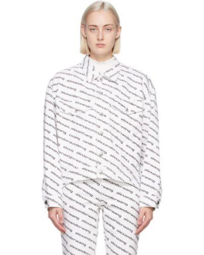 С рукавами белая кожаная джинсовая куртка Alexander Wang