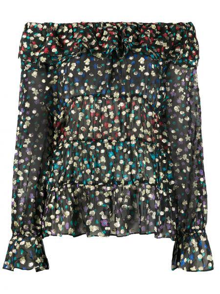 Bluzka z długim rękawem w kwiatowe wzory jedwabna Rixo