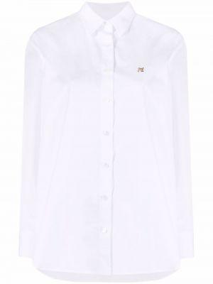 Хлопковая белая классическая рубашка с воротником Maison Kitsuné