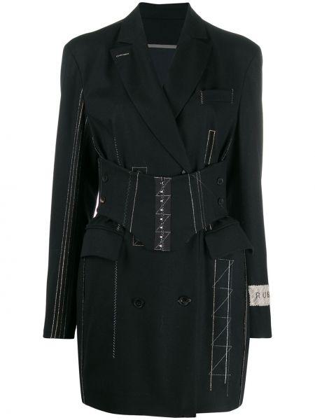 С рукавами шелковое черное платье миди с лацканами Ruban