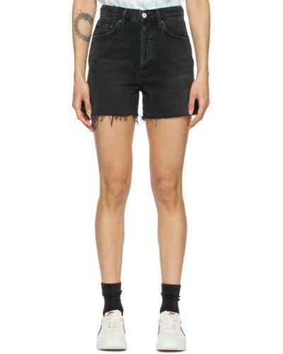 Czarny dżinsowe szorty z paskiem zabytkowe Agolde