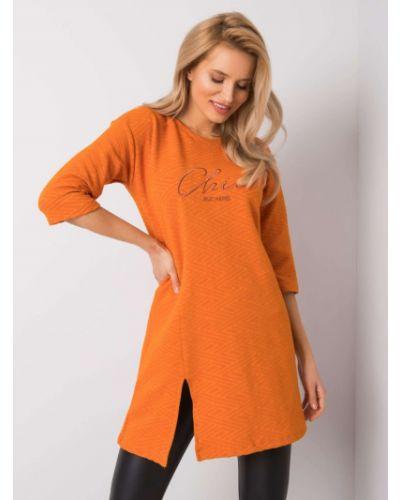 Pomarańczowa tunika z haftem materiałowa Fashionhunters