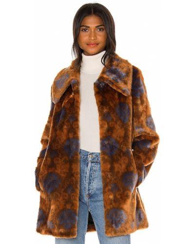 Коричневое длинное пальто из искусственного меха с карманами Unreal Fur