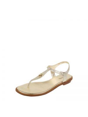 Złote sandały skórzane Michael Michael Kors