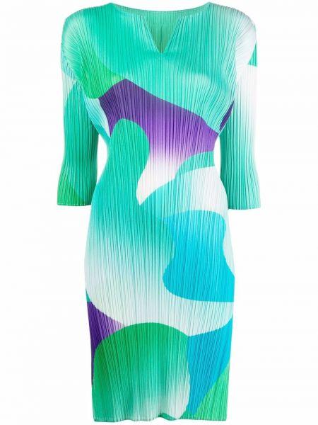 Прямое платье мятное с принтом Pleats Please Issey Miyake