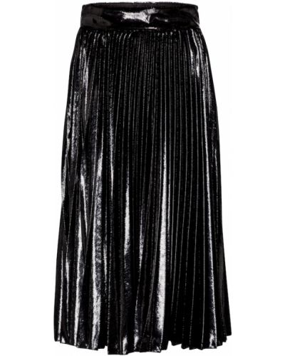 Черная плиссированная юбка миди металлическая Dolce & Gabbana