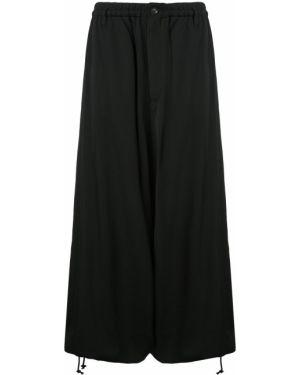 Pofałdowany czarny z wysokim stanem spódnica maxi z kieszeniami Yohji Yamamoto