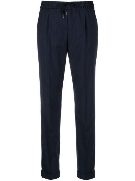 Шерстяные синие брюки с поясом Boss Hugo Boss