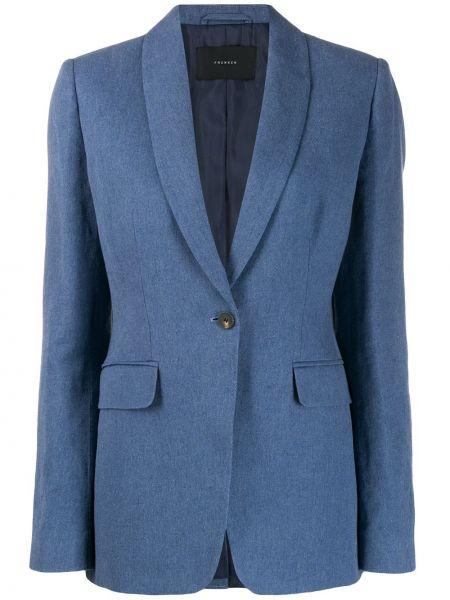 Синий классический костюм с лацканами с V-образным вырезом Frenken