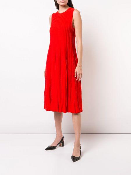 Pomarańczowa sukienka z wiskozy bez rękawów Carolina Herrera