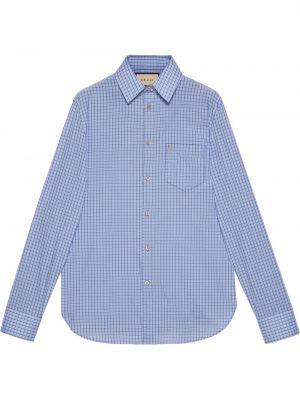 Niebieska koszula bawełniana z długimi rękawami Gucci