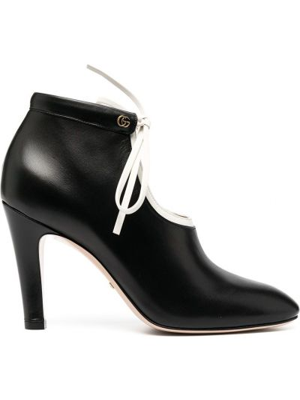Skórzany biały buty obcasy okrągły na pięcie Gucci