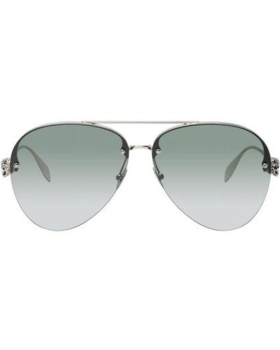 Кожаные черные солнцезащитные очки с черепами Alexander Mcqueen