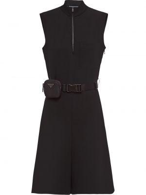 Нейлоновое прямое платье с воротником без рукавов Prada