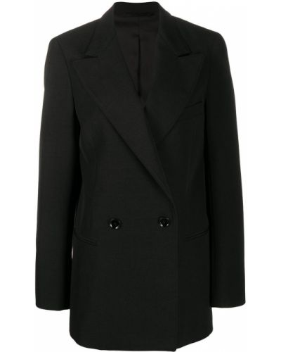 Черный удлиненный пиджак двубортный с карманами Lemaire