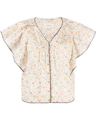 Прямая хлопковая блузка с V-образным вырезом The Great.