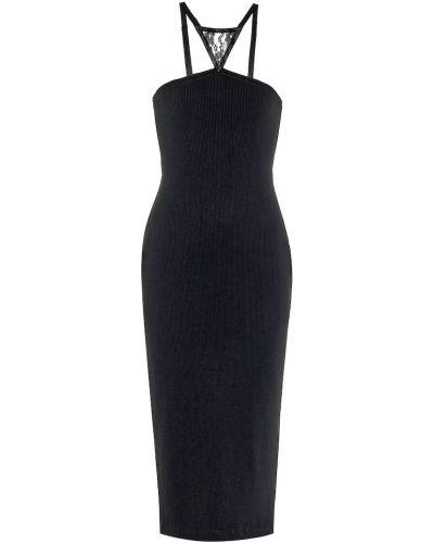 Ażurowy sukienka midi z dekoltem z wiskozy na sznurowadłach Christopher Kane
