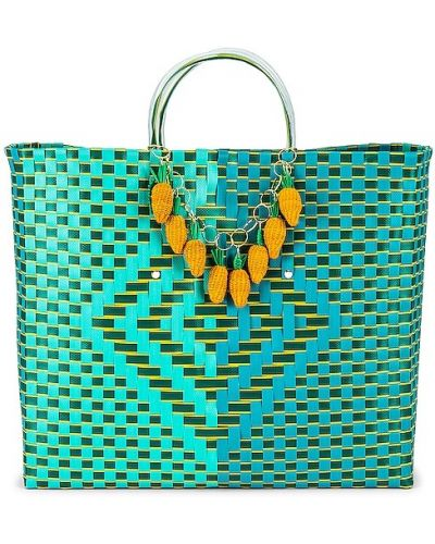 Złota torebka na łańcuszku turkusowa Mercedes Salazar