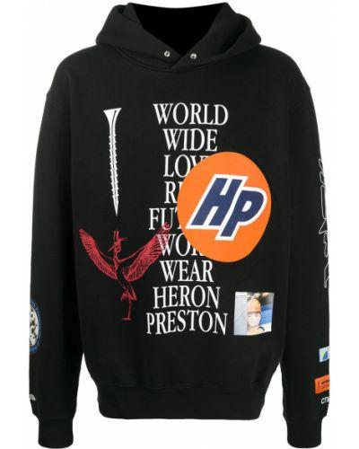 Czarna bluza długa z kapturem z długimi rękawami Heron Preston