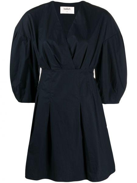 Хлопковое синее расклешенное платье с V-образным вырезом Ba&sh