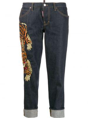Укороченные джинсы с вышивкой с карманами на пуговицах в стиле бохо Dsquared2
