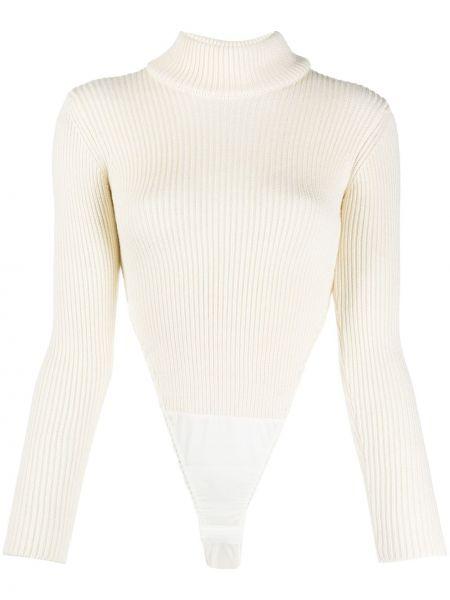 Акриловое белое боди с длинными рукавами с воротником в рубчик Viktor & Rolf