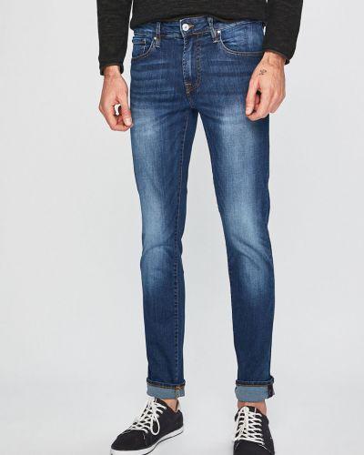 Джинсы кожаный синий Guess Jeans