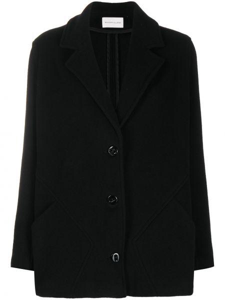 Czarna długa kurtka wełniana z długimi rękawami Maison Ullens