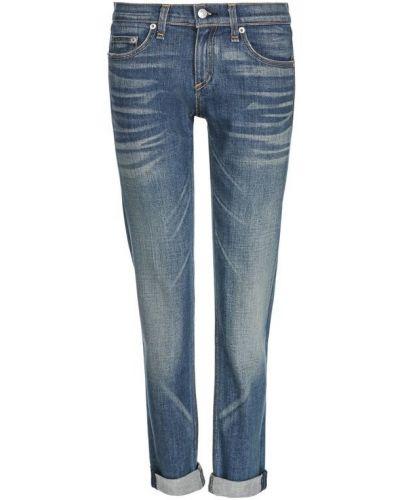 Укороченные джинсы с эффектом потертости слим фит с манжетами Rag&bone
