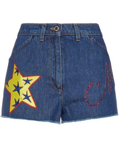 Синие хлопковые джинсовые шорты с карманами Moschino