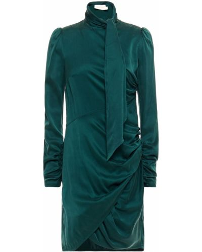 Шелковое зеленое платье с оборками Zimmermann