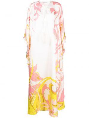 С рукавами шелковое розовое платье макси Emilio Pucci