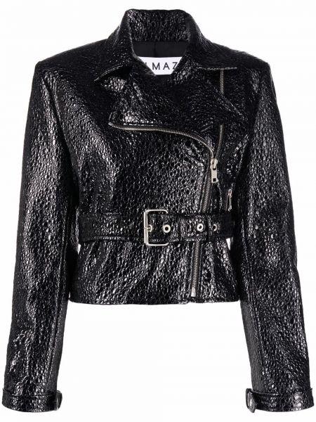 Черная кожаная куртка длинная Almaz