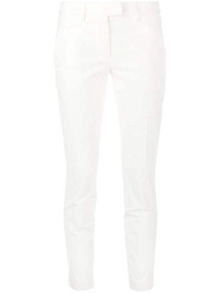 Хлопковые белые брючные укороченные брюки с поясом Dondup