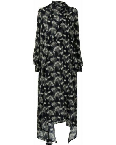 Черное шелковое платье макси Petar Petrov