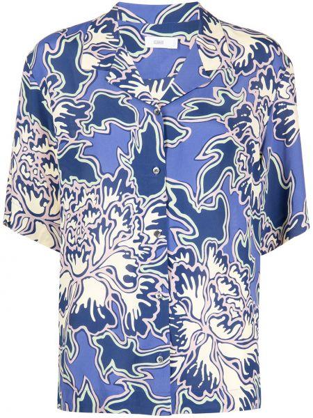 Хлопковая синяя рубашка с коротким рукавом с принтом Closed
