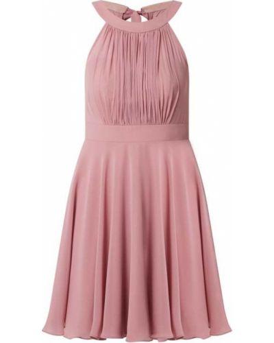Różowa sukienka koktajlowa rozkloszowana z szyfonu Paradi