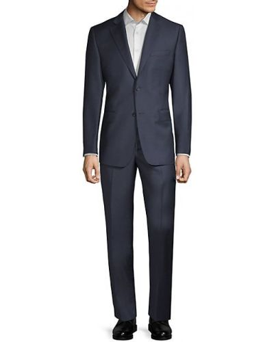 Костюмный шерстяной синий костюм Saks Fifth Avenue Made In Italy