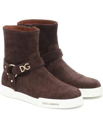 Skórzany brązowy buty Dolce & Gabbana Kids