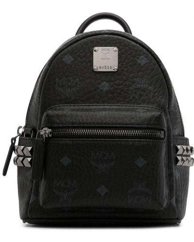 Czarny plecak srebrny z printem Mcm