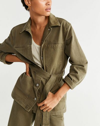Армейская джинсовая куртка мятная на пуговицах с поясом Mango
