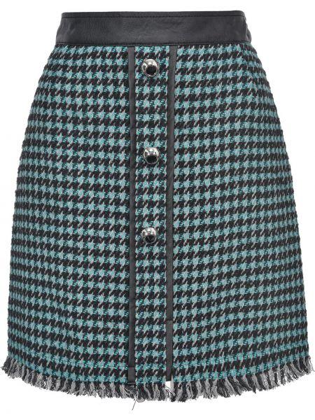 Trykotowy niebieski skórzany trykotowy spódnica frędzlami Pinko