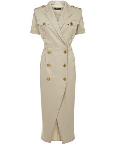 Beżowa sukienka midi krótki rękaw zapinane na guziki Balmain